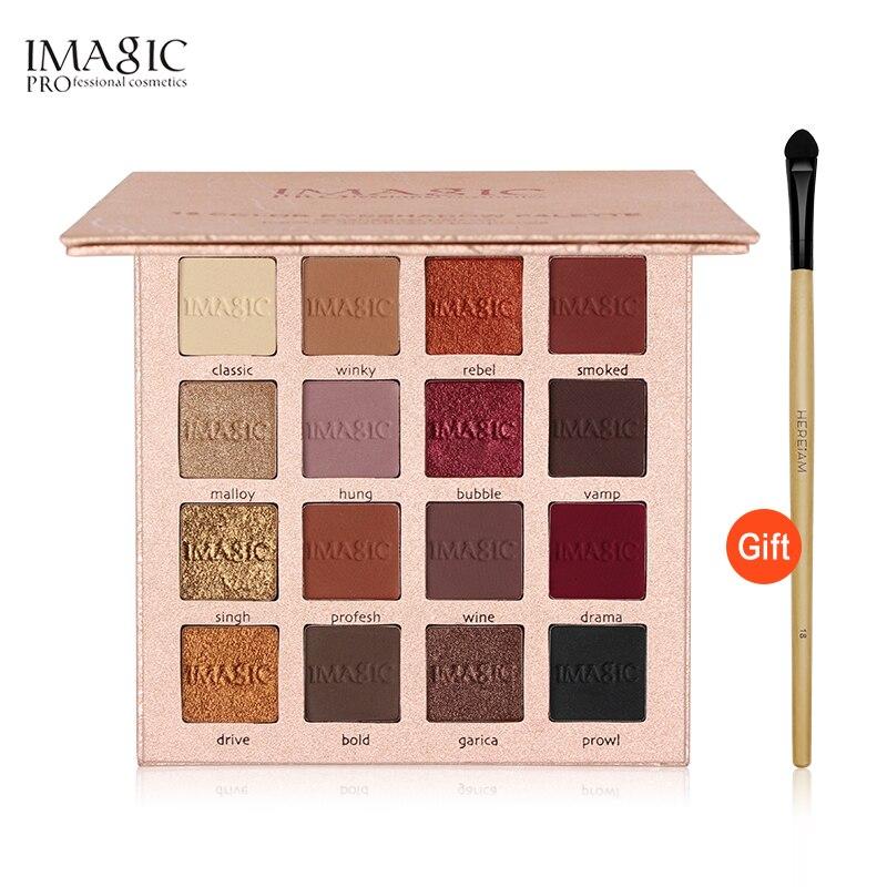 IMAGIC Marca 16 Cores Da Paleta Da Sombra Matte Shimmer Glitter Sombra de Olho Paleta de Blush Maquiagem Beleza