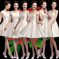2016 nueva palabra hombro vestido de dama de honor corto párrafo primavera y el verano de Misión Hermanas vestido de dama de honor del banquete de la falda de las mujeres