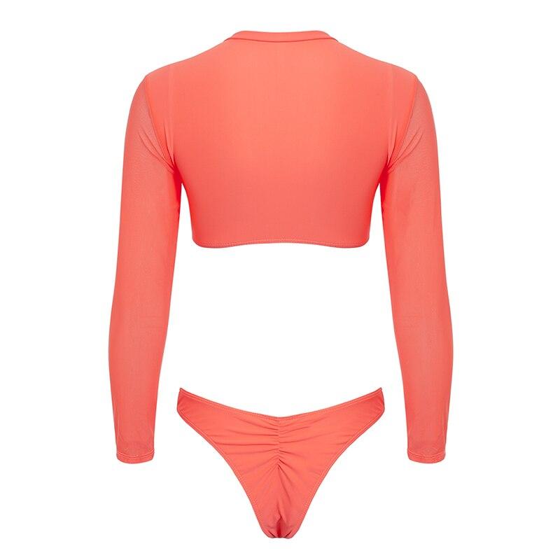 HTB1cgXpXovrK1RjSspcq6zzSXXaC Bikinx Long sleeve brazilian bikini High cut white swimsuit Thong swimwear women bathers Micro bikini 2019 mesh swimming summer