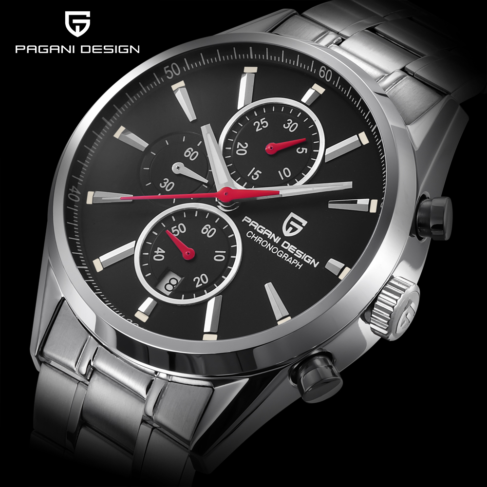 цены PAGANI DESIGN Men Fashion Multi-function Quartz Watch Men Sport Business Watches Stainless Steel Luxury watche relogio masculino