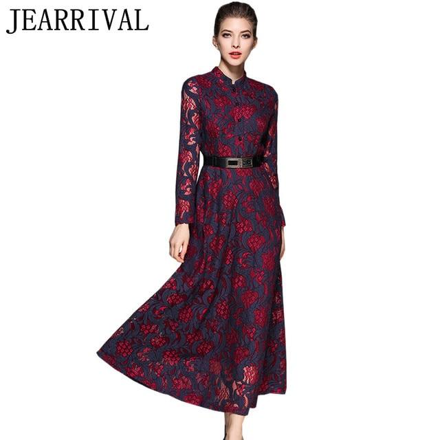 2017 New Designer Vintage Lace Dress Women Spring Fashion Runway Long Maxi Elegant Tunic Evening