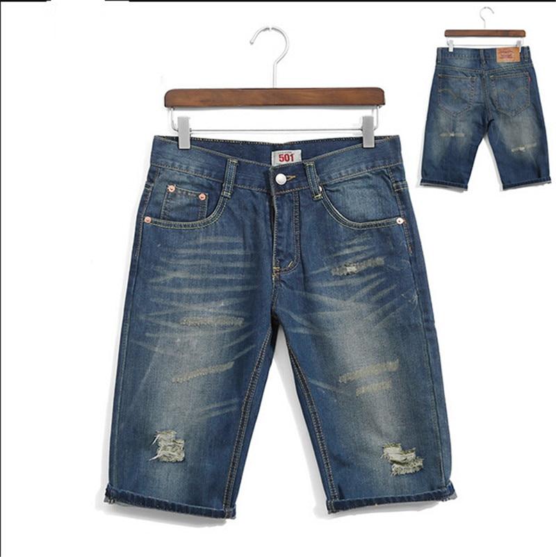 Men s Clothing Shorts Men Denim Shorts Hole Short Summer Mid Waist Short Men Plus Size