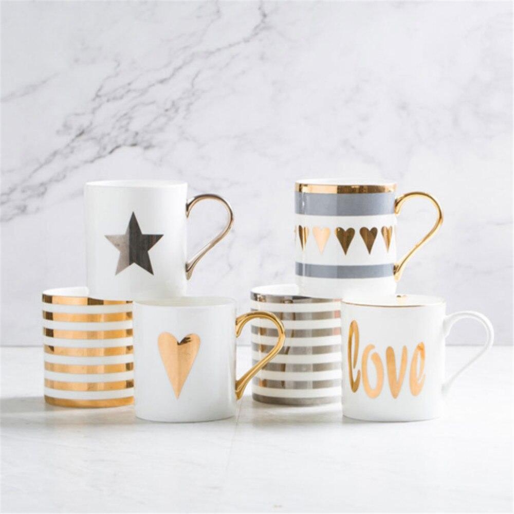 크리 에이 티브 세라믹 우유 머그잔 사랑 스타 스트라이프 패턴 골드 도금 핸들 컵 사무실 가정용 커피 우유 차 머그잔 홈 인테리어