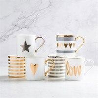 クリエイティブセラミックミルク愛スターストライプパターンゴールドメッキハンドルカップオフィス家庭用コーヒーコーヒーミルクティーマグ家の装飾 -