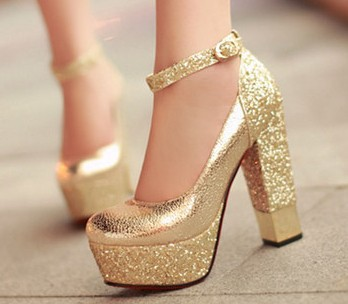2015 Women Red Sole Ankle Strap High heels Sequins Thick Heel ...