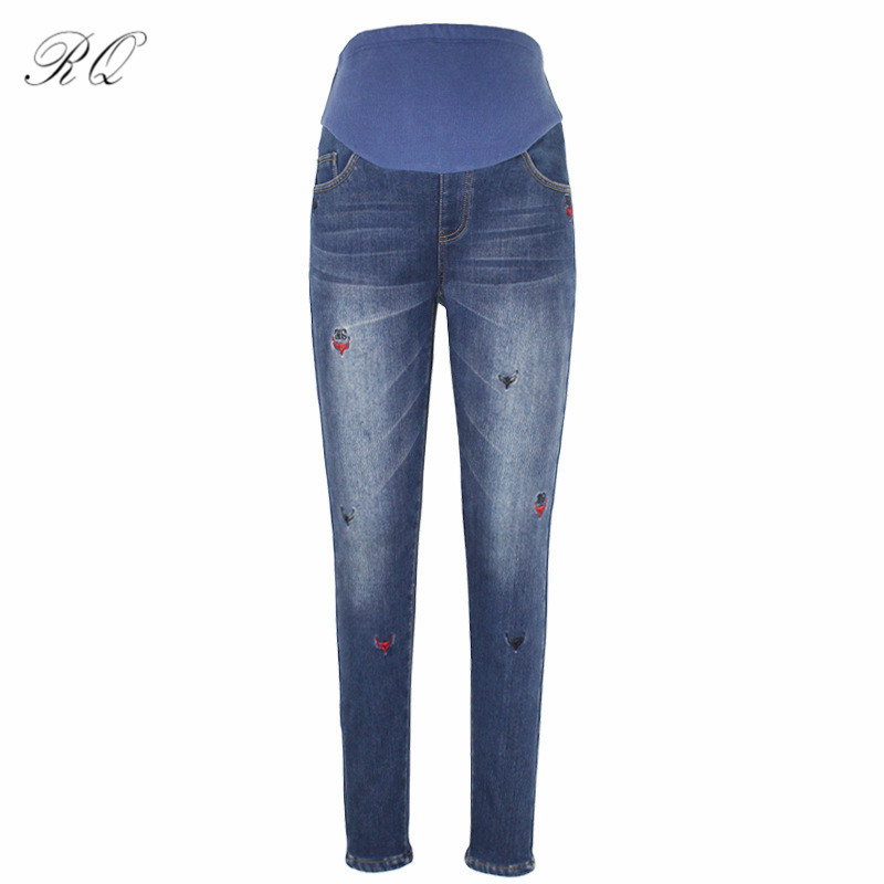 RQ New Winter Cotton Maternity Pants For Pregnant Women Clothes Trousers Pregnancy Clothing Woman Jeans KZ15 2016 hole jeans free shipping woman distressed true denim skinny jean pencil pants trousers ripped jeans for women 031