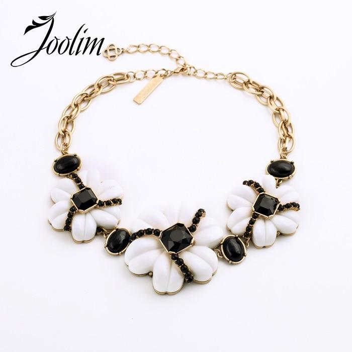 ᐃJoolim elegante negro blanco mezclado flor gargantilla collar ...