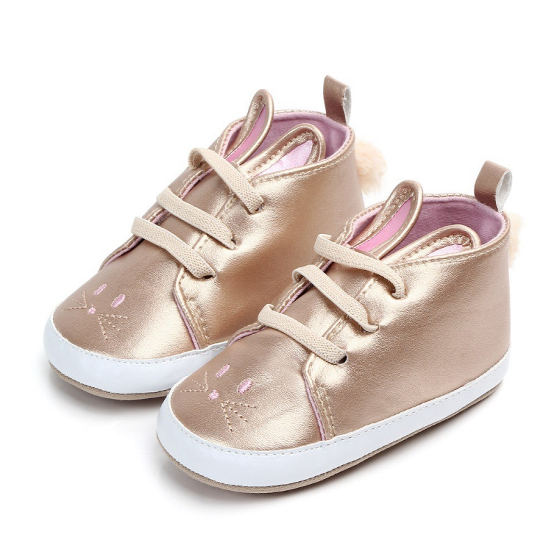 Mirror PU Baby Girls Shoes Princess First Walkers Newborn Autumn Soft Sole Non-Slip Rabbit PU Shoes Sneakers Y13