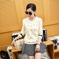 A nova primavera 2016 mulheres Coreanas bordado Crewneck camisola de algodão camisa de manga curta casaco vestido de camisola