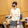 La nueva primavera 2016 de Corea mujeres bordado camisa de algodón de Cuello Redondo suéter de manga corta suéter casaca