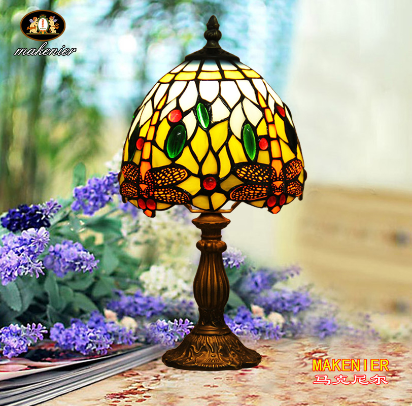 Makenier Vintage Tiffany Style Stained Glass Bedroom Bedside Corner Table Desk Blue Dragonfly Small Lamp, 7 Inches Lampshade 16inch antique agate jade dragonfly stained glass lampshade tiffany pendant lamp country style bedside lamp e27 110 240v