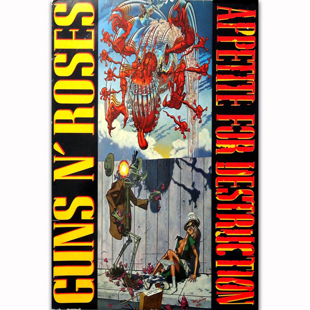 US $5 38 7% OFF FX1558 Guns N Roses Appetite for Destruction Rock Music  Band Cover Poster Art Silk Light Canvas Home Room Wall Printing Decor-in
