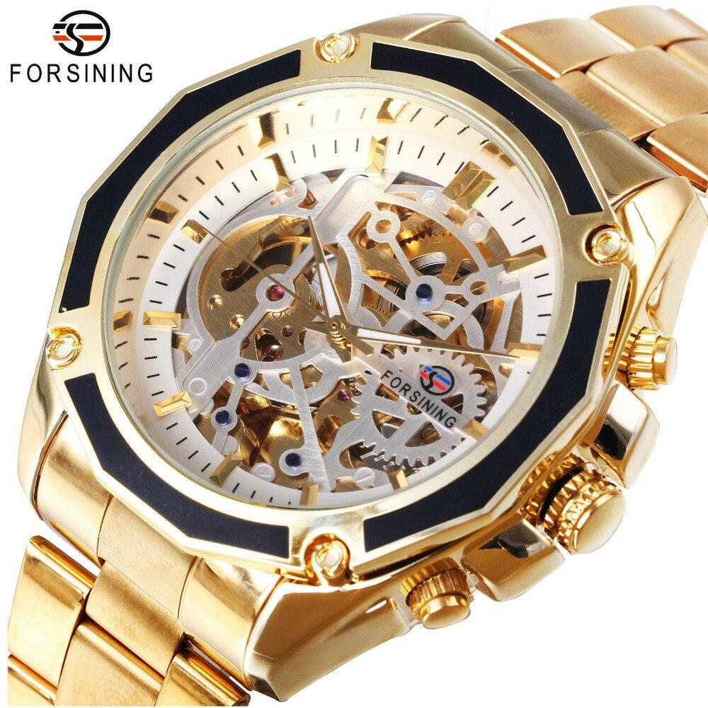 FORSINING Business Männer Automatische Mechanische Uhr Solide Strap Multilaterale Lünette Skeleton Zifferblatt 3D Design Armbanduhren
