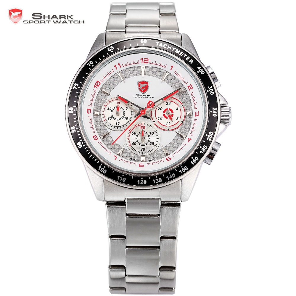 Bramble Mens Shark Sport Watch 24 Hour White Red Chronograph Tachymeter Quartz Stainless Steel Band Military Timepiece / SH245 chenxi steel strap tachymeter quartz watch