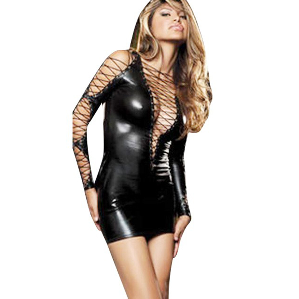 Black Wet Look Faux Leather Mini Dress Hollow Out Sexy Deep V Dresses Lace Up Sleeve Exotic Sexy Dresses Party Night Club Dress
