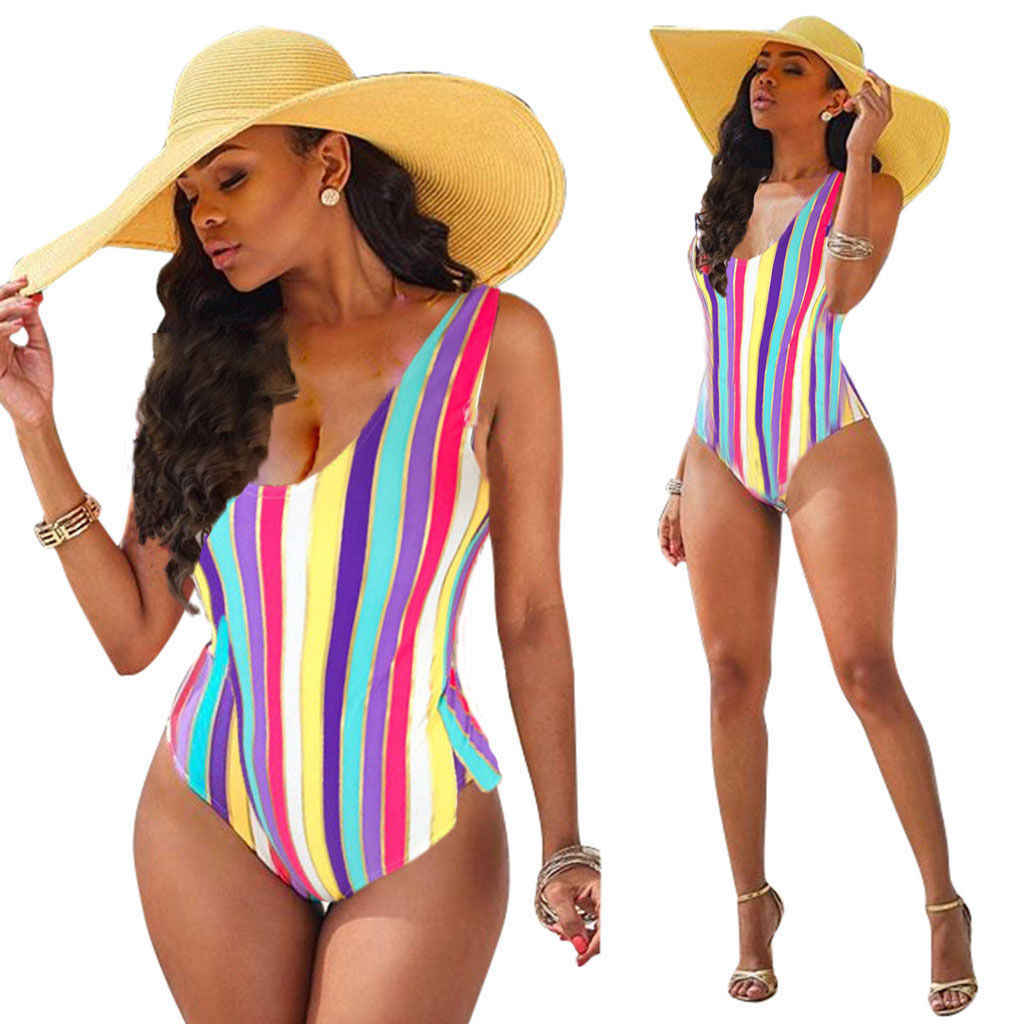 Summer 2019 Sexy Women Striped Backless One Piece Bikini Monokini Swimsuit Swimwear Beachwear Bathing Suit Biuqini
