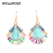 WELLMORE Rumbai anting memiliki hitam/abu-abu/purple3 warna busana kristal rumbai earrings untuk wanita(China)