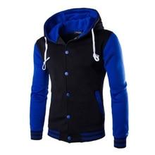купить ZOGAA Men's Fashion Color Block Baseball Hooded Jacket Men Patchwork hoody fleece Sport Sweatshirt PLUS SIZE XS-5XL онлайн