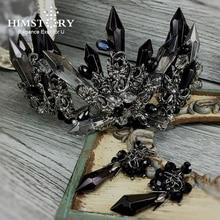 HIMSTORY Luxurious Handmade Black Crystal Wedding Hair Crown Queen Bridal Tiara Hair Accessories Women Jewelry Headwear