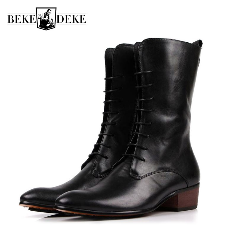 Men Retro Pointed Toe Lace Up Riding  Boots Top Brand Genuine Leather Punk Mid-Calf Italian Block Heel Shoes Male FootwearMen Retro Pointed Toe Lace Up Riding  Boots Top Brand Genuine Leather Punk Mid-Calf Italian Block Heel Shoes Male Footwear
