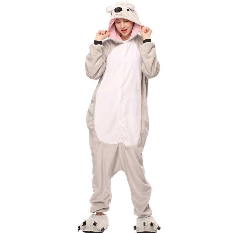Женские пижамы Хэллоуин Взрослые животные теплые фланелевые пижамы набор стежка  Единорог панда мультфильм с капюшоном унисекс 7917f165ee1c2