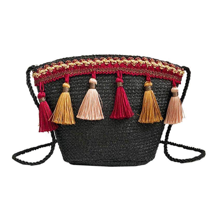28568d0a7120 Women Straw Bag Tassel Weaving Boho Small Bucket Bag Women Summer Beach Bag  bolsas de mujer