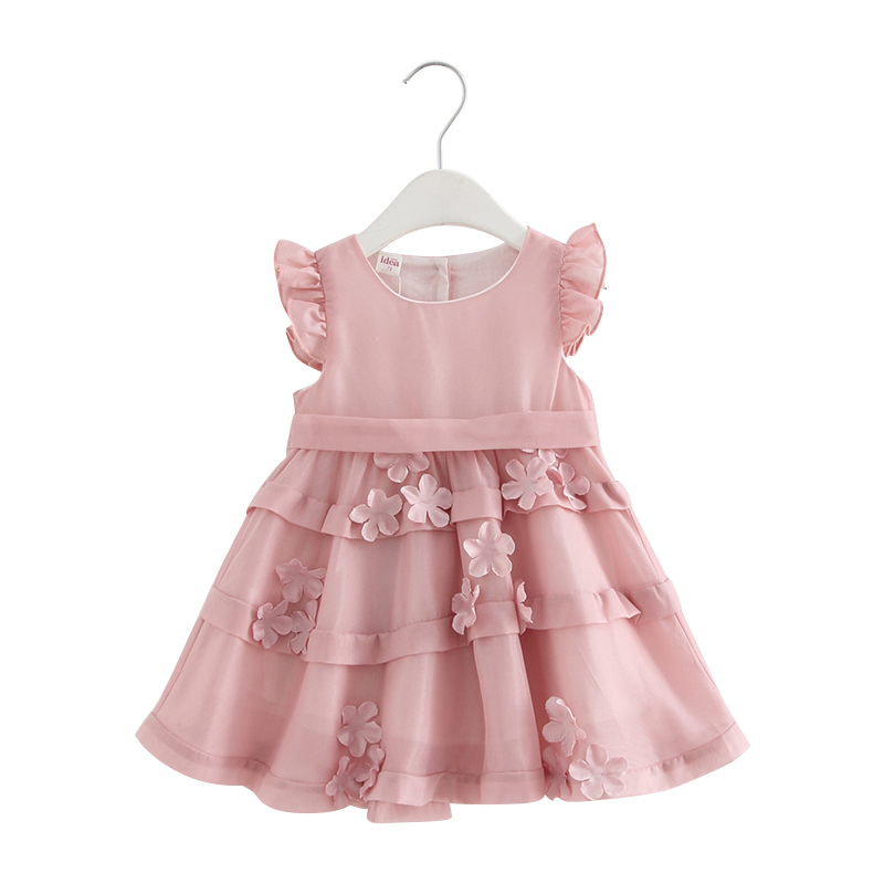 Baby Girl Dress Chiffon Puff Sleeve Baptism Dress for Infant Girls 1 Year Birthday Chirstening Dress with Flowers Appliques 0-2T