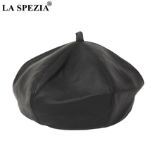 2bc24023ee323 LA SPEZIA Black Beret For Women Leather Retro French Style Hats Female  Pumpkin Vintage Fake Leather