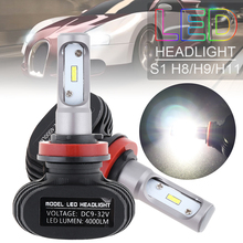 2pcs H8 H9 H11 S1 50W 8000LM 6000K CSP LED Auto Car Headlight Kit Automobile Fog Lamp Hi or Lo Light Bulbs for Car Vehicles