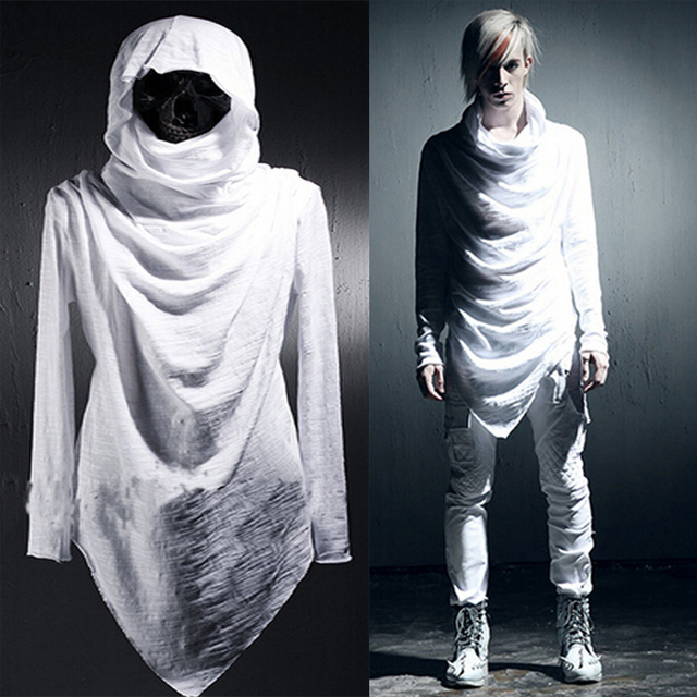 Attractive Celeb Avant Garde Men's Clothing Asymmetric Unbalance Hoodie Long  DH68