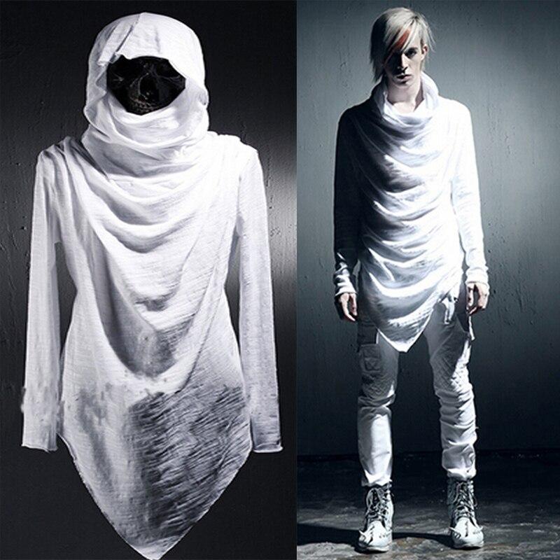 Celeb avant-gardiste vêtements pour hommes asymétrique déséquilibre à capuche Long t-shirts à la mode cheveux styliste manteau hauts
