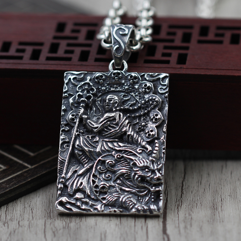 S925 silver Buddha Pendant hell is not empty until  domineering male army Necklace Silver tagS925 silver Buddha Pendant hell is not empty until  domineering male army Necklace Silver tag