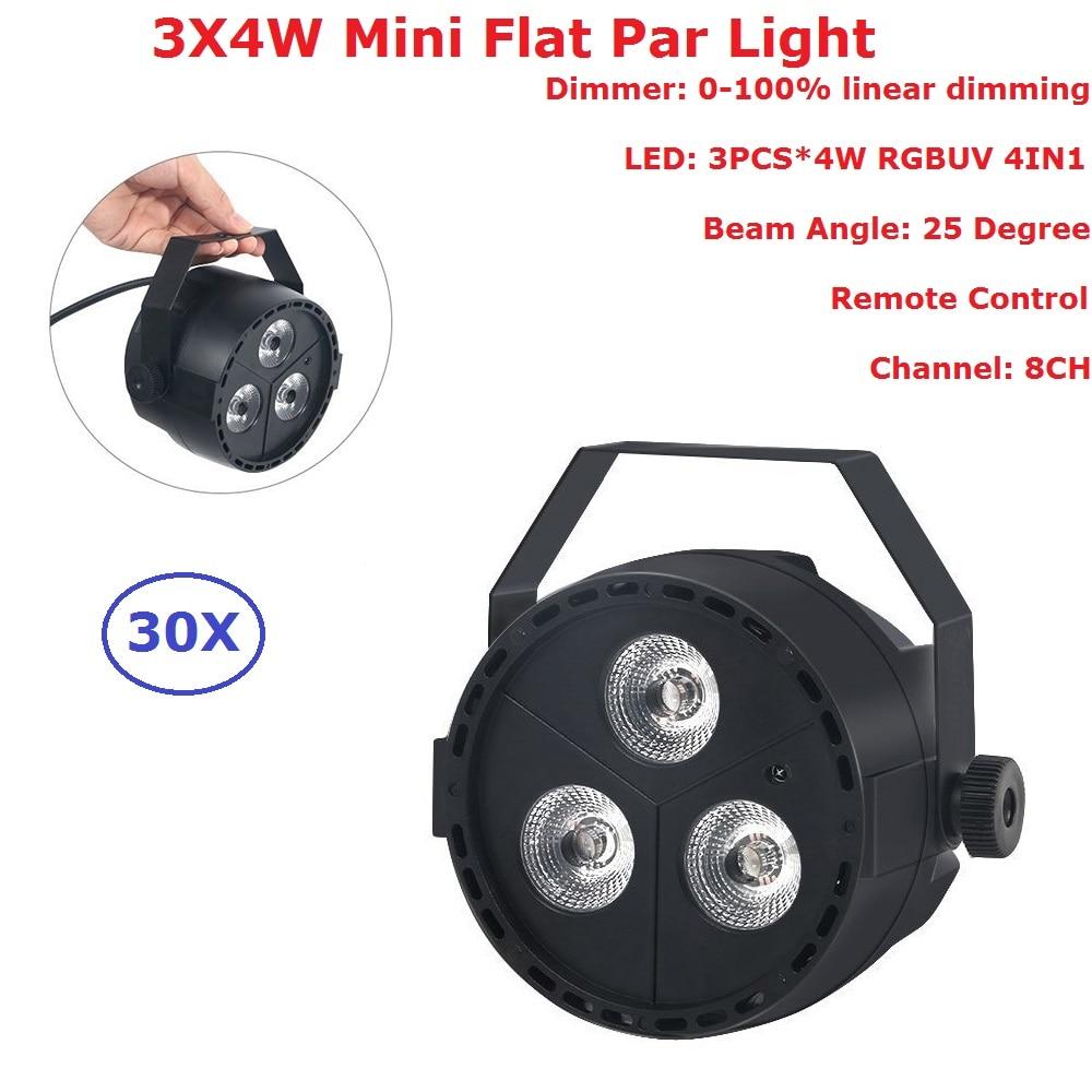 30 Units Carton Package 3LEDS 4W RGB-UV 4IN1 LED Flat Par Lights  8 DMX Channel IP20 Indoor Flat Par For Disco Dj Shows EU Plug