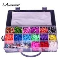 Meetcute DIY 1500 Rainbow Colour Loom Bands Kit Glow In The Dark Rubber Looms Xmas Bracelet