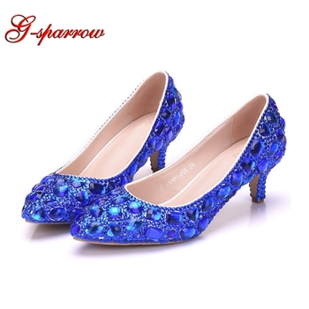 Crystal Wedding Shoes 5cm Rhinestone Middle Heel Cinderella Prom Party Shoes Lady Formal Dress Shoes Royal Blue Gold Purple