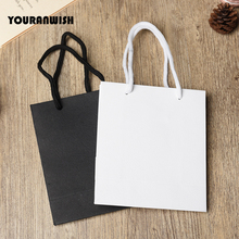 20pcs/lot White Black High Quality Simple Paper Gift Bag Kraft Candy Box With Handle Wedding Birthday Party Package B