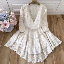 Baogarret High Quality Spring Summe Design Boutique Dress Women Stunning Sexy V-neck Puff Sleeve Embroidery Crochet Linen