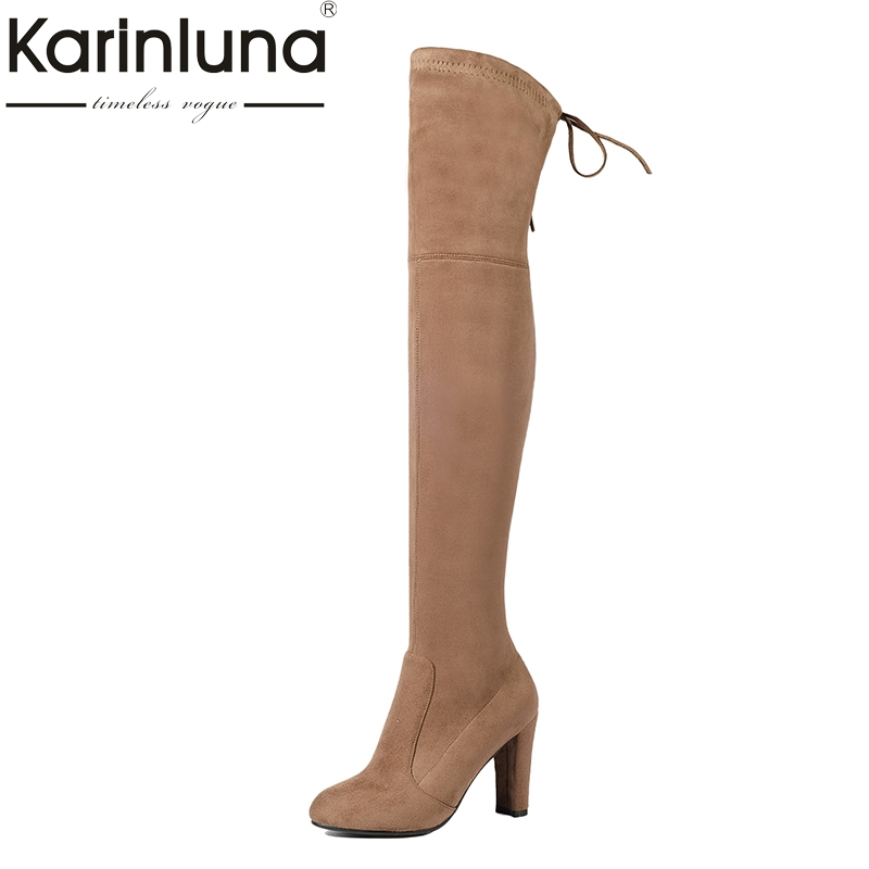 Фотография KARINLUNA 2017 Large Size 34-43 8 colors Elastic High heels Women Boots Sexy Fashion Over The Knee Boots party Woman Shoes