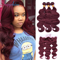 Sapphire Red 99J Peruvian Body Wave Human Hair Weave 3 Bundles With Lace Frontal Remy Hair with Free Part Lace Closure