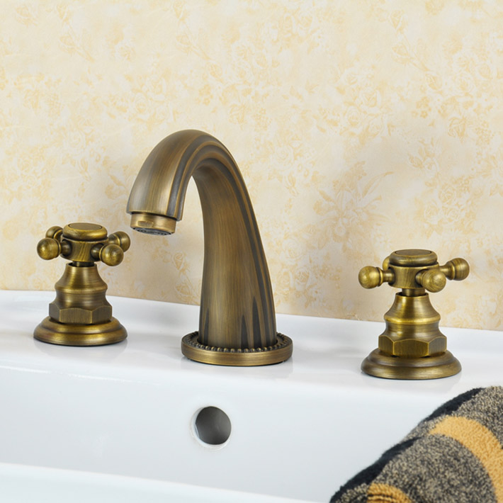 3 pcs  sink faucet set Antique Brass Deck Mounted Bathroom Mixer Tap Bath Basin Sink Vanity Faucet Water tap bath faucets
