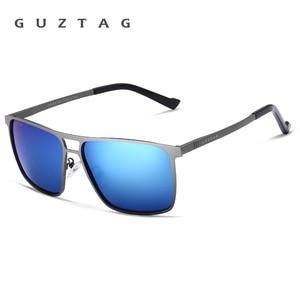Image 4 - Guztagサングラスステンレス鋼の正方形男性/女性偏光ミラーUV400サングラス男性oculos G8029
