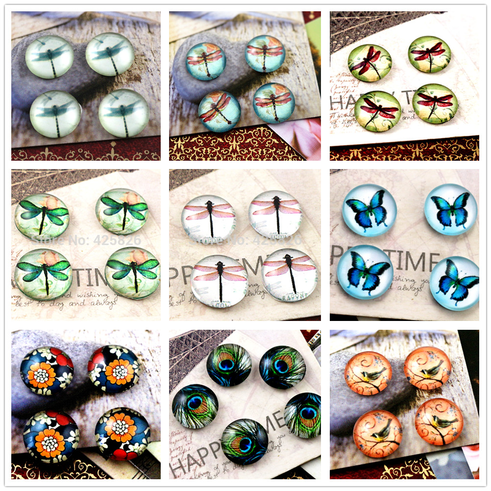 Hot Sale 20pcs 12mm 9 Types Handmade Cool Style Photo Glass Cabochons