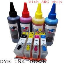 цена на 4PCS Compatible hp 655 Refillable Empty cartridge + 400ml Dye inks For hp655 Deskjet 3525 4615 4625 6520 6525 6625 5525 6525