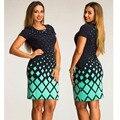 Moda vestidos de las mujeres de gran tamaño nuevo 2017 mujeres de talla grande ropa 6xl winter dress o-cuello de la tela escocesa ocasional oficina bodycon dress