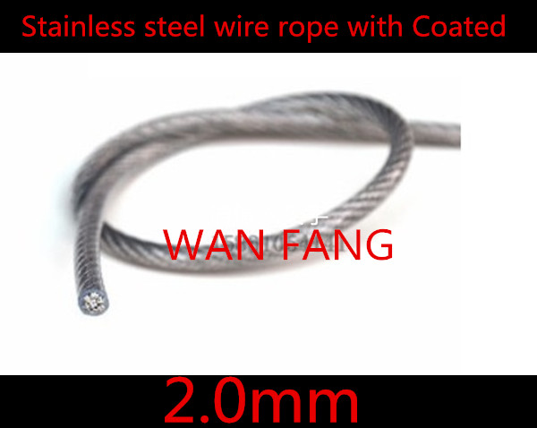 50 Meters Diameter 2.0mm Stainless Steel Wire Rope With PVC Plastic Coated  Transparent  (1.5MM Wire Rope With 2.0MM Coating)