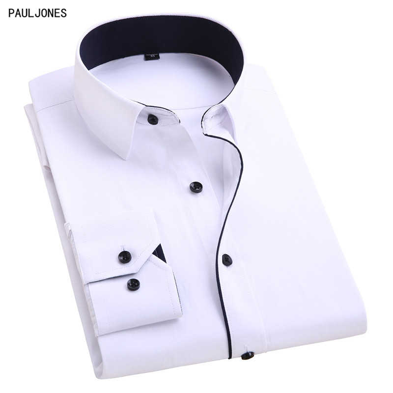140e0404dfa2ab8 PAULJONES Long Sleeve Slim fit Men's Casual Business Shirts Non Iron  Patchwork Men Social Shirts White