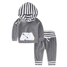 Фотография 100% Soft cotton Hoodies Set Baby boy Clothing Litter Child clothes sport suit infant boy sweatshirt with hat outerwear