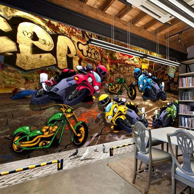 Online Shop Photo Wallpaper 3d Street Motorcycle Racing Graffiti