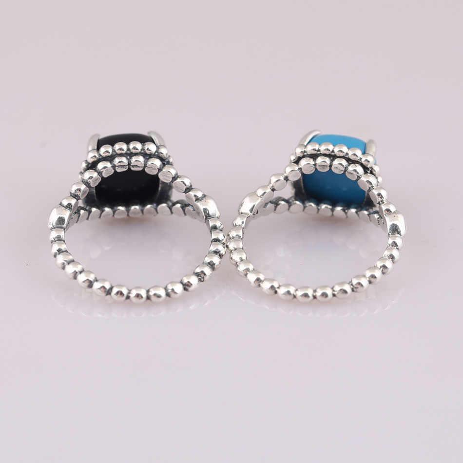 eb6cc8f07 ... 925 Sterling Silver Pan Ring For Women Vibrant Spirit Ring Scuba Blue &  Black Crystal Girl ...