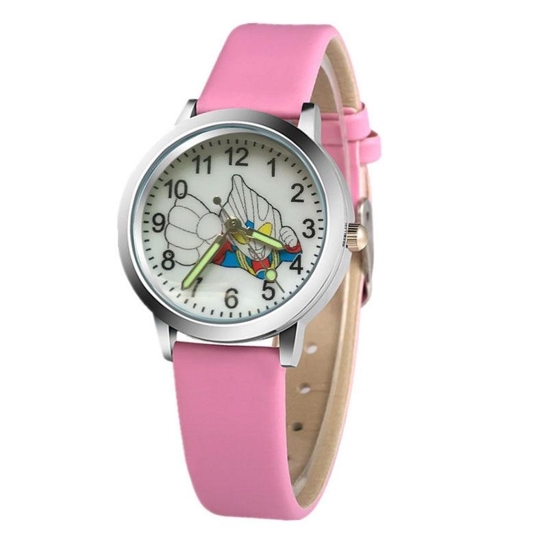 Hot Kids Watch Cartoon Superman Boy Girl Quartz Luminous Leather Clock Baby Kids Student Watches Gift Relojes
